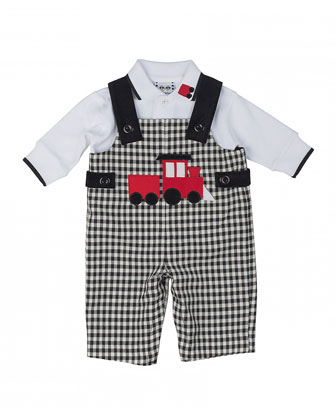 Train Overalls & Long-Sleeve Polo, Black/White, 12-24 Months