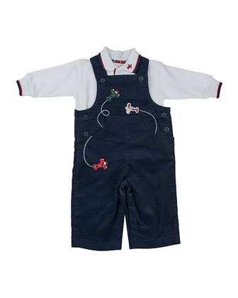 Airplane Corduroy Overalls & Long-Sleeve Pique Polo, 3-24 Months