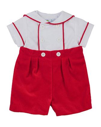 Sailor Shirt & Velvet Shorts Set, 3-24 Months