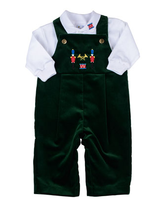 Soldier Velvet Overalls & Long-Sleeve Polo Set, 3-9 Months