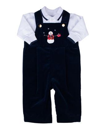 Snowman Velvet Overalls & Long-Sleeve Polo Set, 3-9 Months