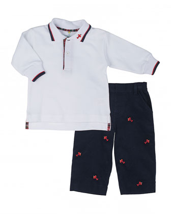 Airplane Corduroy Pants & Long-Sleeve Pique Polo, 2T-4T