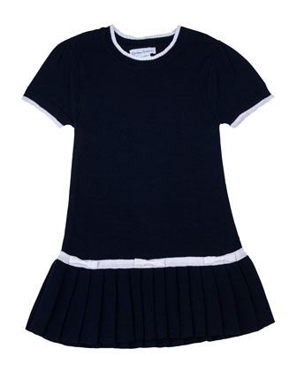 Knit Sweaterdress, Navy/White, 2T-4T