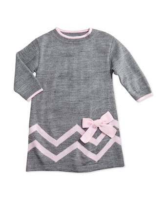 Zigzag Knit Sweater Dress, Gray/Pink, 2T-4T