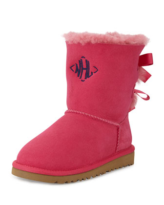 Kids' Monogram Bailey Boot with Bow, Cerise, 13T-4Y