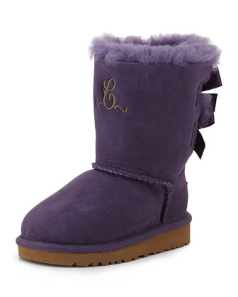 Kids' Monogram Bailey Boot with Bow, Petunia, 13T-4Y