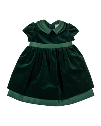 Velvet Dress with Satin Trim, 2T-4T