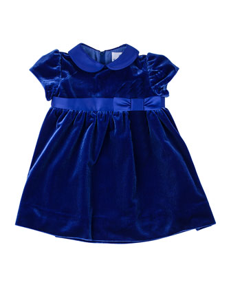 Peter Pan-Collar Velvet Dress, 2T-4T