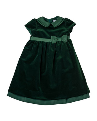 Velvet Dress with Satin Trim, Sizes 4-6X