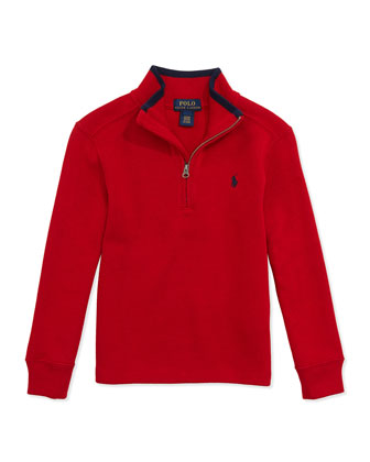 Rib-Knit Tipped Pullover, Ralph Red, 2T-7