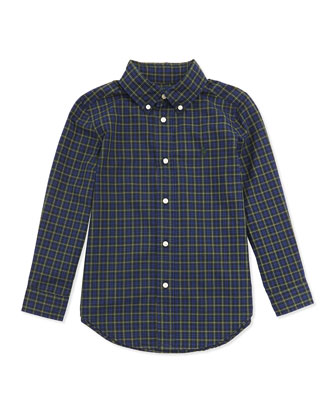 Plaid Poplin Woven Shirt, Blue Multi, 2T-7