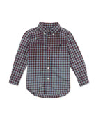 Plaid Poplin Woven Shirt, Black Multi, Sizes 2-7