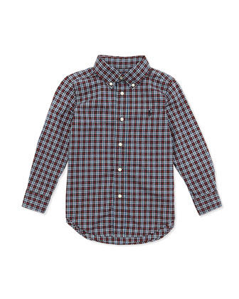 Plaid Poplin Woven Shirt, Black Multi, Sizes 2-7