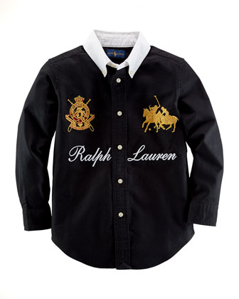 Novelty Blake Oxford Shirt, Polo Back, Sizes 2-7