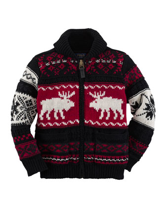 Reindeer Shawl-Collar Zip Cardigan, Sizes 2-7