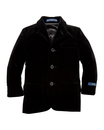 Velvet 3-Button Jacket, Black, Sizes 2-7