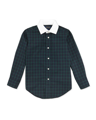 White-Collar Plaid Poplin Shirt, 2T-7