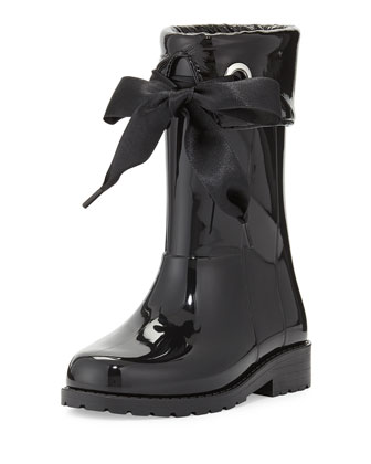 Rain Boots with Bow, Black