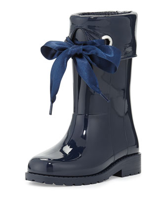 Rain Boots with Bow, Navy