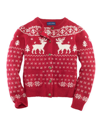 Reindeer Cashmere-Blend Cardigan, Holiday Red, Sizes 2-6X