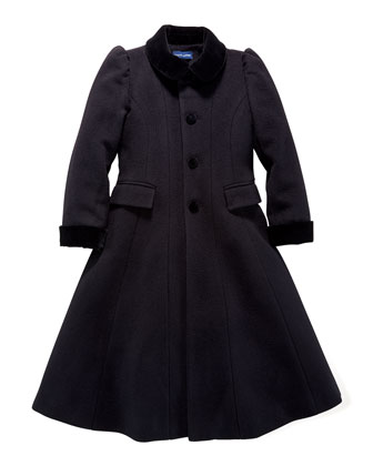 Wool/Cashmere Princess Coat, Black, Sizes 2-6X