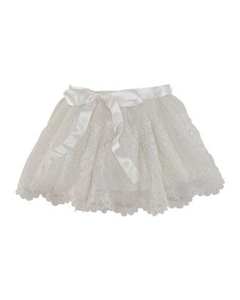 Emboidered Tulle Skirt, Antique Cream, Sizes 2-6X