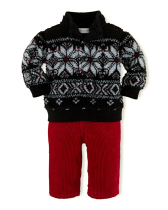 Mock-Neck Fleece Pullover & Corduroy Pants, 3-24 Months