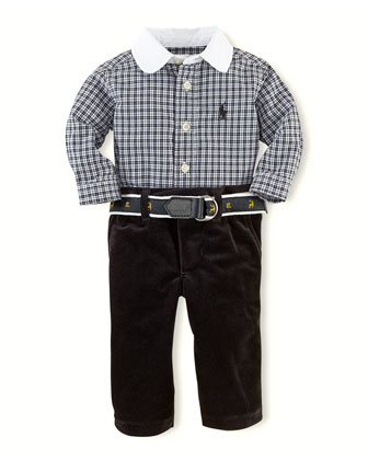 White-Collar Shirt & Velvet Pants Set, 3-24 Months