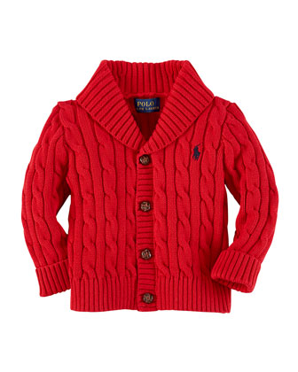 Cable-Knit Shawl-Collar Cardigan, Martin Red, 3-24 Months