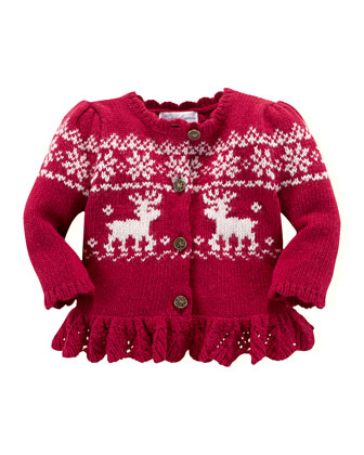 Reindeer Intarsia-Knit Cardigan, Holiday Red, 3-24 Months