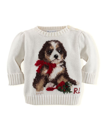 Girls' Intarsia-Knit Holiday-Dog Sweater, 3-24 Months