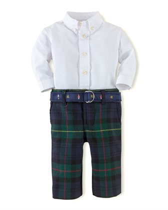 Poplin Shirt & Plaid Pants Set, 3-24 Months