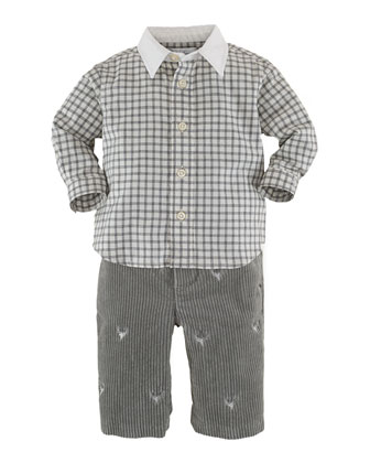 Check Shirt & Schiffli Corduroy Pants Set, 3-24 Months