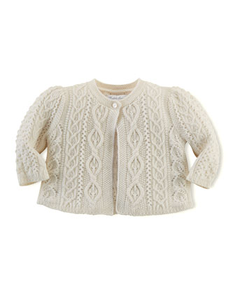 Cashmere-Blend Aran Knit Sweater, 3-24 Months
