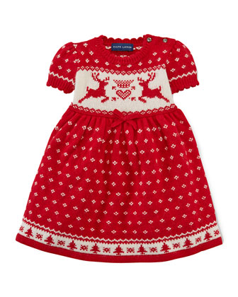Intarsia-Knit Reindeer Dress, 9-24 Months