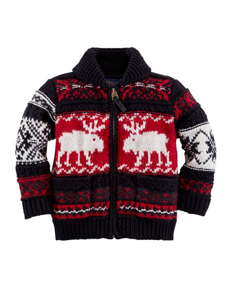 Reindeer Shawl-Collar Zip Cardigan, 9-24 Months