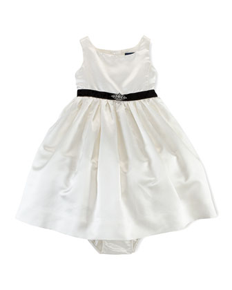 Satin Dress with Jeweled Belt, 6-24 Months