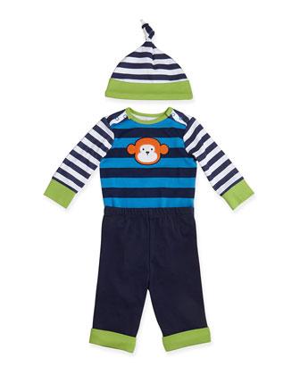 Monkey Bodysuit, Pants, and Hat Set, 3-9 Months