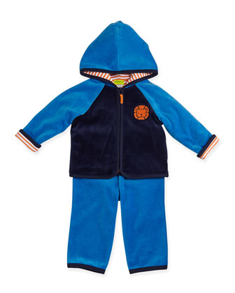 Lion Zip Hoodie, Striped Bodysuit, & Pants Set, 12-24 Months