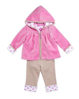 Flower Zip Hoodie, Polka-Dot Bodysuit & Pants, 12-24 Months