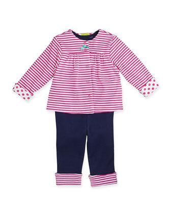 Dot/Stripe Reversible Jacket, Bodysuit, & Pants Set, 3-9 Months