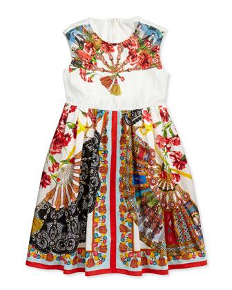 Fan-Print Poplin Dress, 3-24 Months