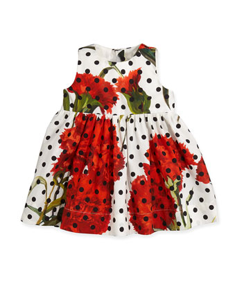 Floral and Polka-Dot Dress, 3-24 Months