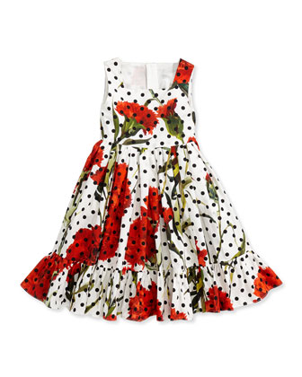 Polka-Dot and Floral-Print Dress, Sizes 2-6