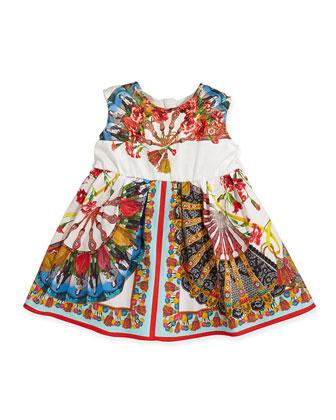Girls' Field-Print Jersey/Poplin Dress, Sizes 8-12