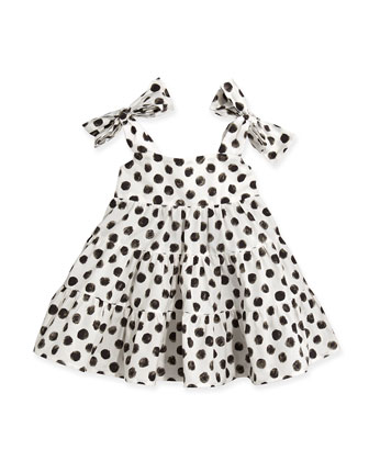 Girls' Polka-Dot Poplin Dress, Sizes 8-12