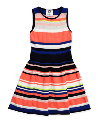 Striped Knit Flare Dress, Sizes 8-14