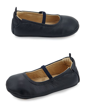 Soft Leather Ballet Flats, Navy, Infant/Toddler