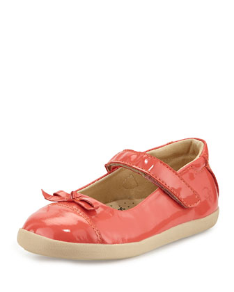 Patent Cap-Toe Ballet Flat, Watermelon, Youth