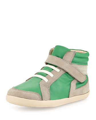 Two-Tone Leather High-Top Sneaker, Green, Youth